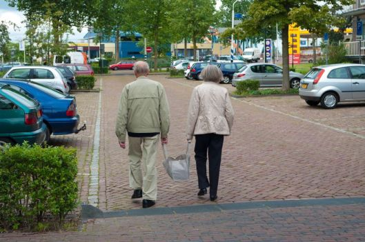 7798137 - aged couple carrying together their shopping bag